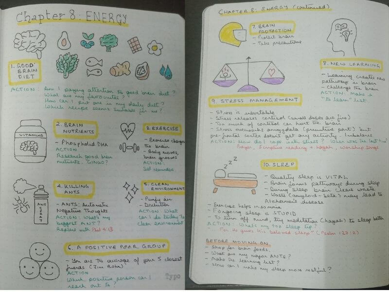 Limitless by Jim Kwik Chapter 8 - Energy (Sketchnotes)