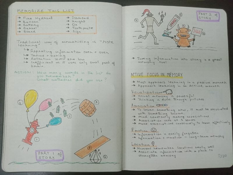 Story method for better memory - Limitless by Jim Kwik - Sketch Notes